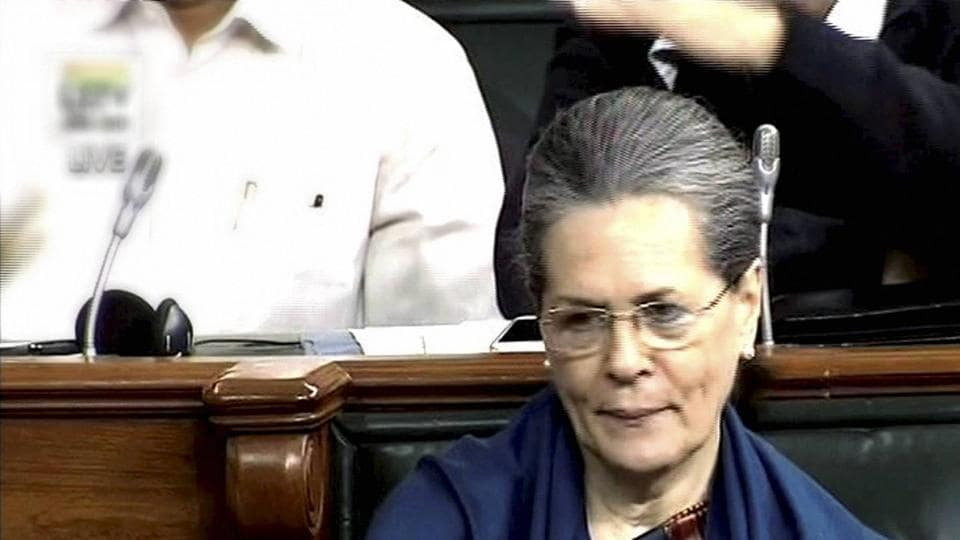 Congress President Sonia Gandhi in the Lok Sabha in New Delhi on Monday.