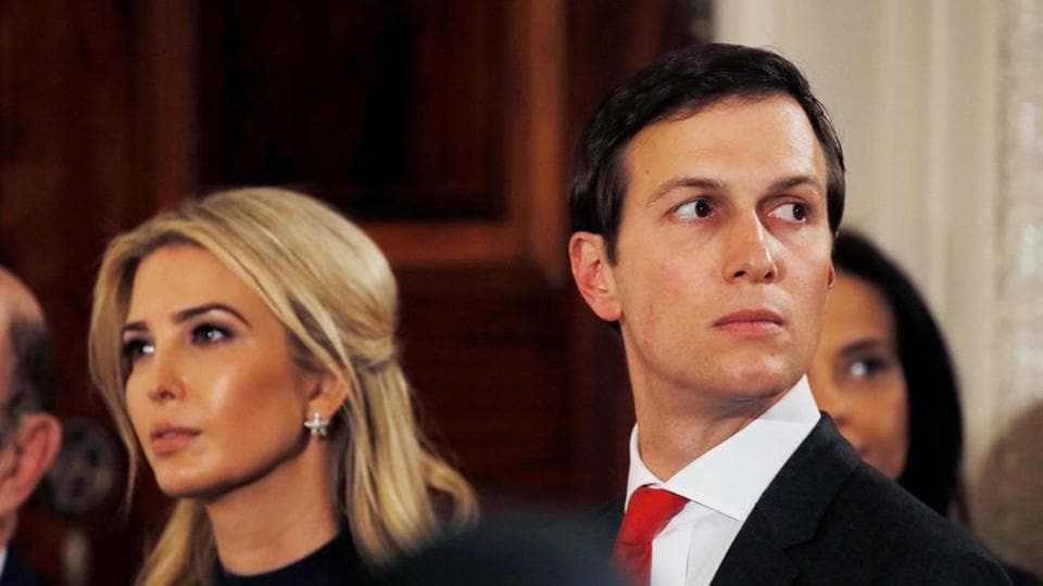 Ivanka Trump and her husband Jared Kushner watch as German Chancellor Angela Merkel and US President Donald Trump hold a joint news conference in the East Room of the White House in Washington, March 17, 2017.