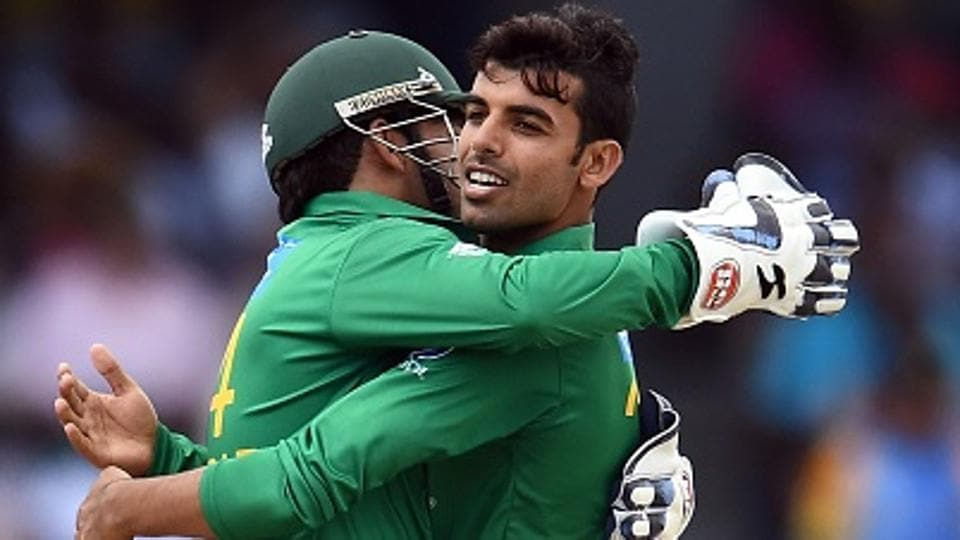 Pakistan's Shadab Khan (R) celebrates after dismissing West Indies' Sunil Narine in Bridgetown, Barbados.