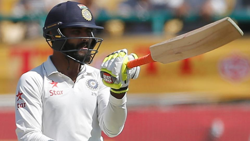 Ravindra Jadeja celebrates his half century in Dharamsala on Monday. India have a 32-run first innings lead in the fourth and final Test vs Australia. Live streaming and live cricket score of the match is available online. Get all live information here.