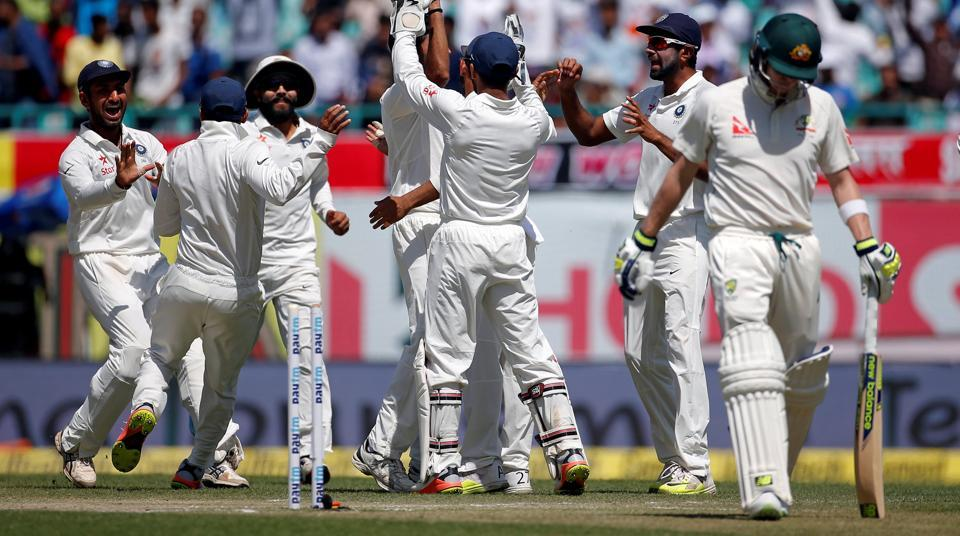 Indian bowlers dismissed Australia for 137 on day 3 of the India vs Australia Dharamsala Test on Monday. The home team needs 87 runs more to clinch match and series. The dismissal of Steve Smith (17) was the turning point for India.