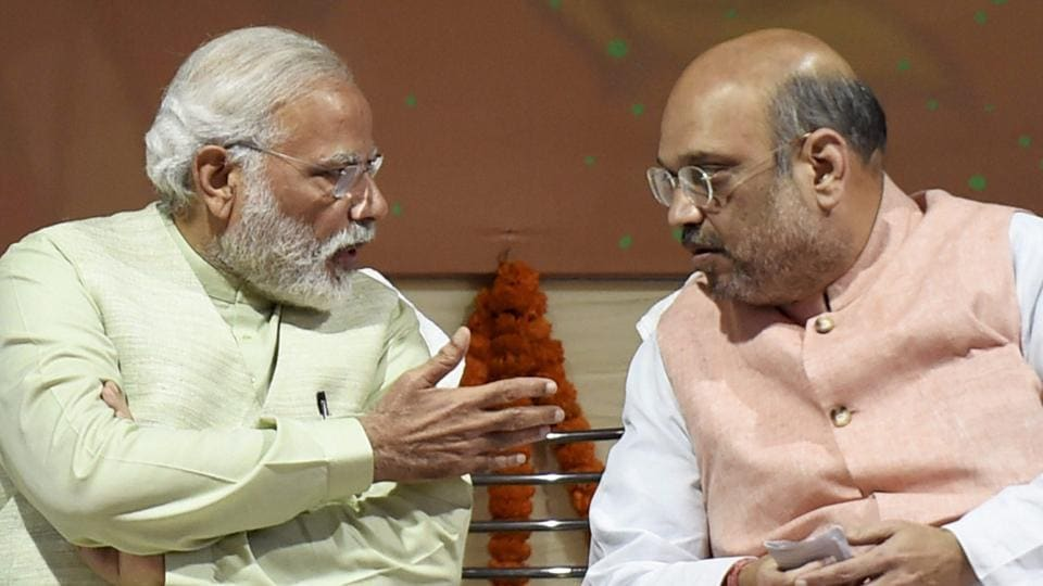 File photo of Prime Minister Narendra Modi and BJP president Amit Shah at the party headquarters.