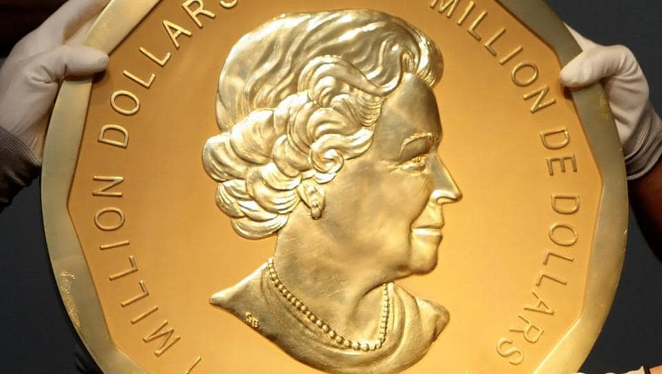 One of the world's largest gold coins, a 2007 Canadian $1 million Big Maple Leaf, which was stolen from Berlin's Bode Museum.