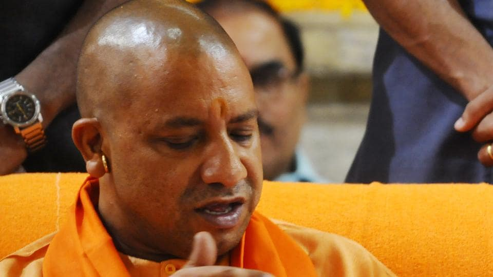 Yogi Adityanath during his first visit to Gorakhnath temple after becoming the chief minister of Uttar Pradesh.