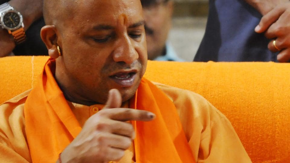 Yogi Adityanath during his first visit to the Gorakhnath temple after becoming Uttar Pradesh chief minister, in Gorakhpur, on March 26, 2017.