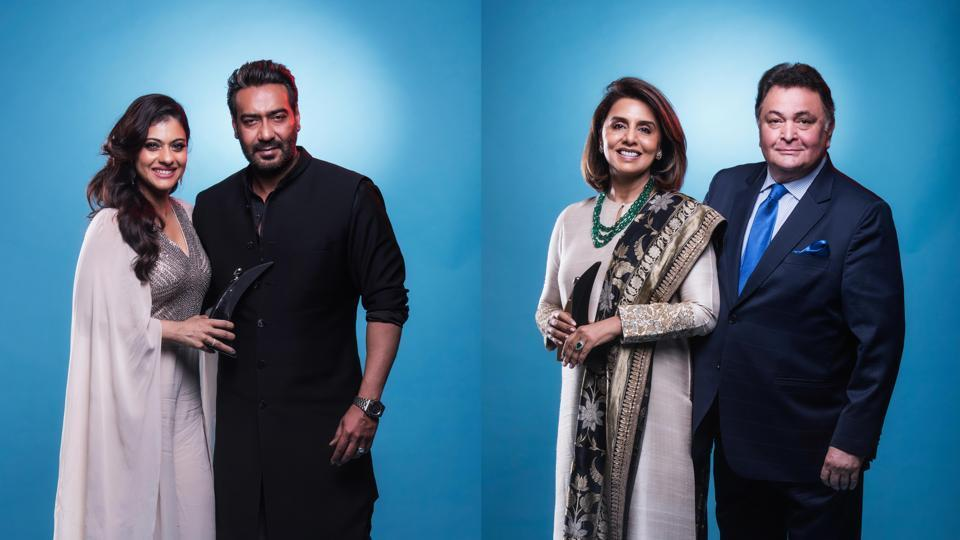 Ajay Devgan and Kajol walked hand-in-hand at the award show and won the Most Stylish Couple. The elegant couple Rishi Kapoor and Neetu Singh were awarded the  Most Stylish Timeless Couple.  (Aalok Soni/HT Photo)