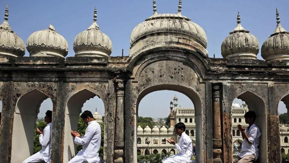 File picture of  Muslims offer prayers at Bara Imambara in Lucknow.  The three men accused in the Bhopal-Ujjain train bombing this month are said to have surveyed the Imambara for a bomb attack but tight security foiled their plans.