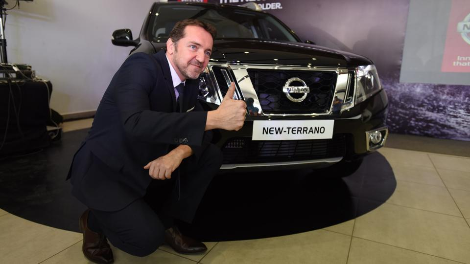 Guillaume Sicard, President, Nissan India Operations with Nissan New 'Terrano' in Noida. (Virendra Singh Gosain/HT PHOTO)