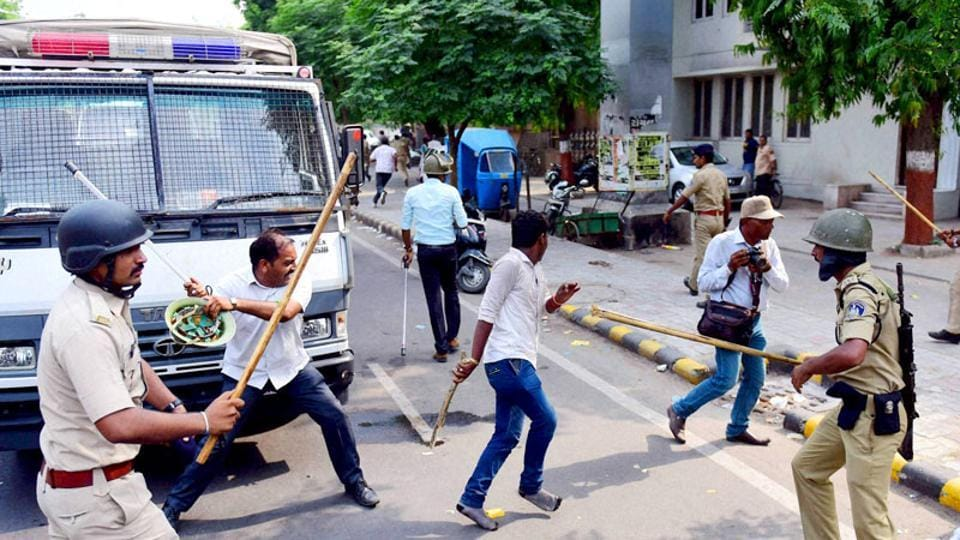 Supporters of the Jan Adhikar Party tried to gherao the Bihar legislative assembly when the police prevented them in Patna.