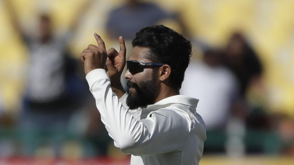 India's Ravindra Jadeja celebrates the dismissal of Australia's Pat Cummins during the third day of their fourth Test in Dharmsala on Monday.