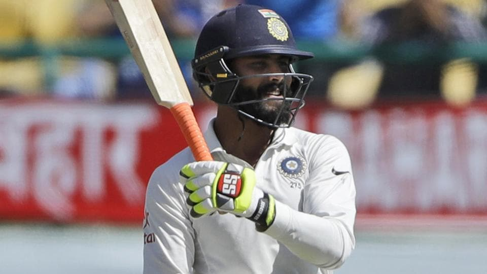 India cricket team's Ravindra Jadeja celebrates after completing his 50 on Day 3 of the fourth Test against Australia cricket team in Dharmsala on Monday.