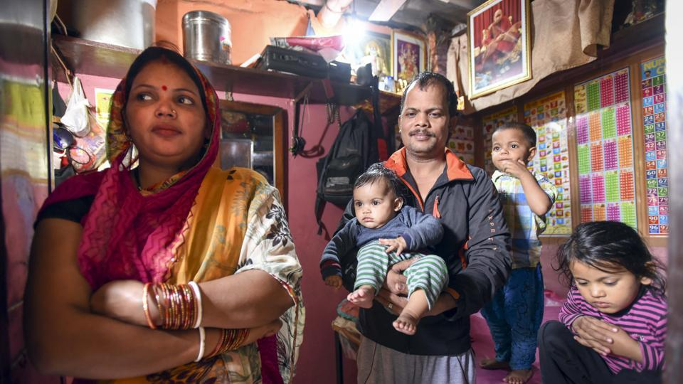 Sunita and Prem Kumar Upadhyay are struggling to get their full ration entitlement, as names of their 4 minor children could not be enrolled for Aadhaar.