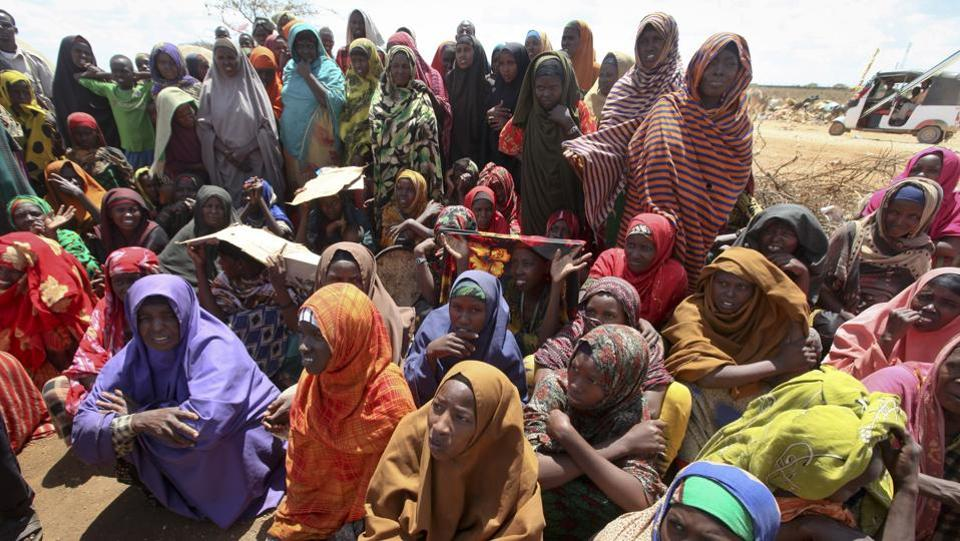 Newly displaced Somali women gather near to their makeshift shelters at a camp in Baidoa, Somalia.  We are still ahead of the curve of the famine because now is when we can save lives, he said. This is not the time to have doubts that funding is not needed. (Farah Abdi Warsameh/AP)