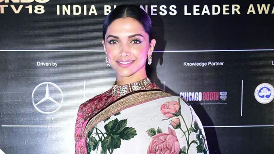 Deepika Padukone was spotted wearing a khadi floral-printed Sabyasachi Mukherjee sari at a recent event.