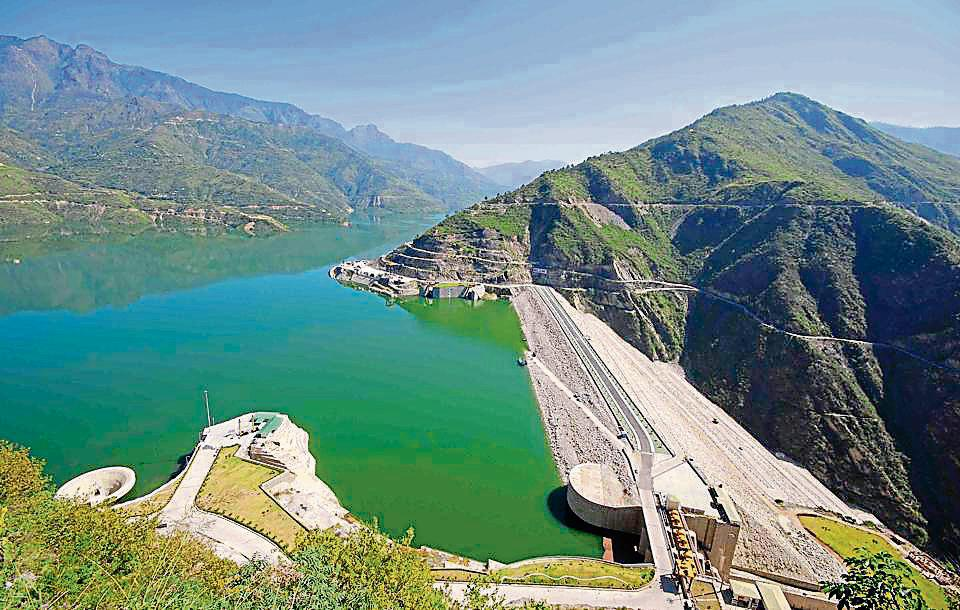 A view of Tehri Dam that is the highest water reservoir of India.