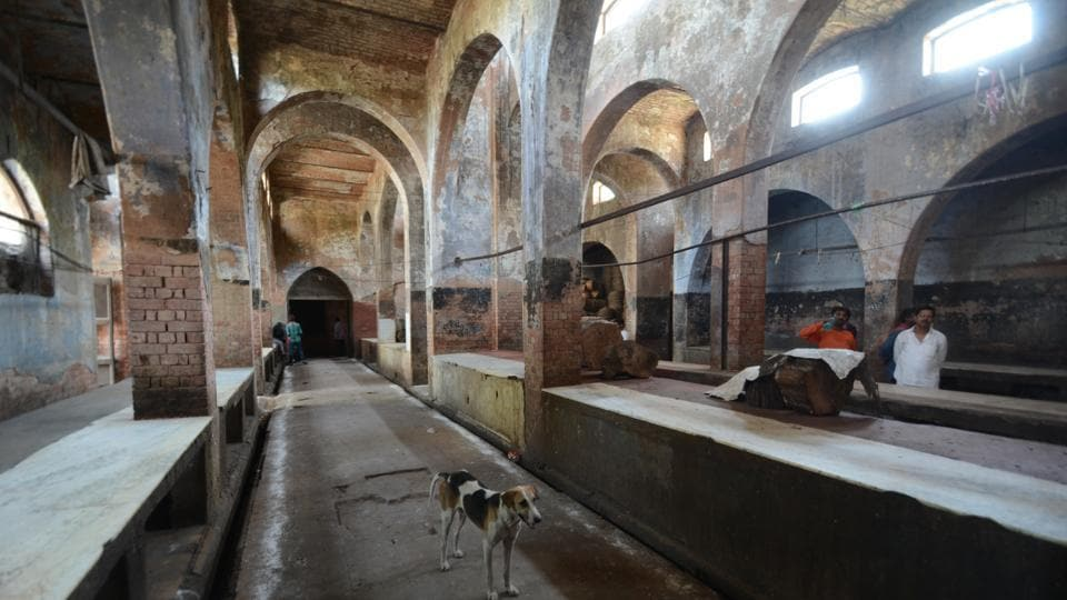 A deserted Qaiserbagh meat market in Lucknow.