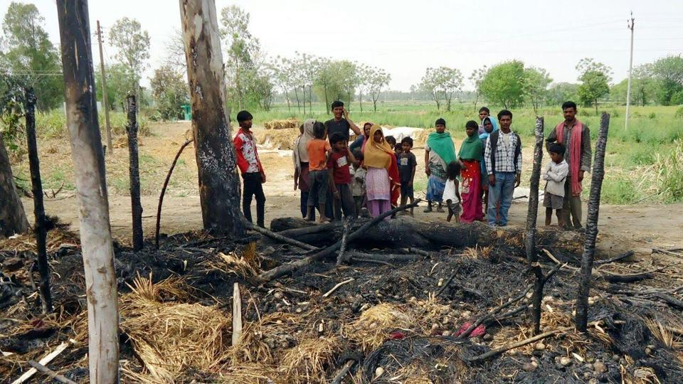 The site where a 50-year-old man and his two children died in a fire that gutted their shanty in Ehma Kaaji village near Kartarpur, 17 km from district headquarters Jalandhar, early Tuesday morning.