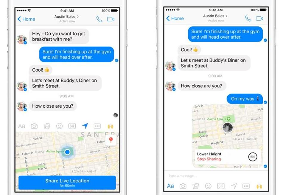 In yet another tweak to Facebook's Messenger App, the company has added a live location sharing option.