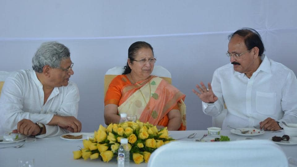 """On the occasion of """"Nutan Samvatsar"""", Speaker Sumitra Mahajan invited MPs for a vegetarian fare in Parliament House. here, CPI(M)'s Sitaram Yechury and union minister Venkaiah Naidu are also seen."""