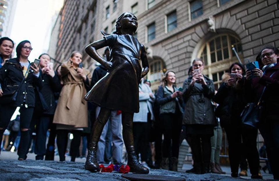 The 'Fearless Girl' statue is the work of artist Kristen Visbal.