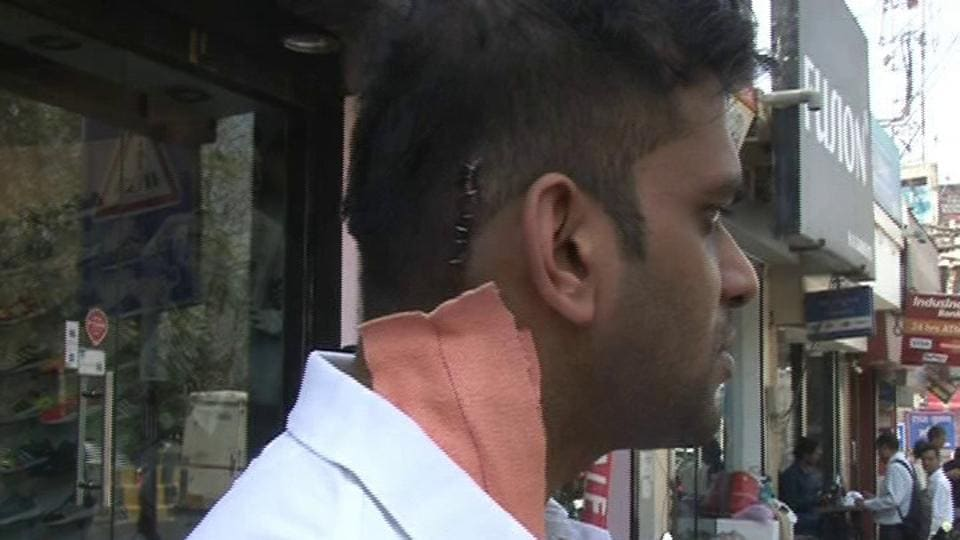 One of youths, who were assaulted at the Gurgaon pub on Monday night.