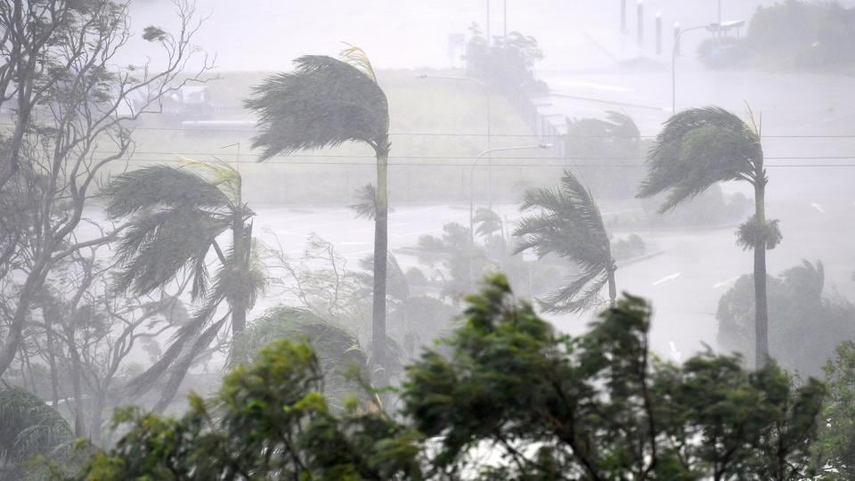 Cyclone Debbie hits Airlie Beach, located south of the northern Australian city of Townsville.