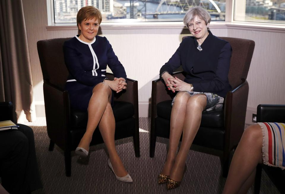 Britain's Prime Minister Theresa May (right) and Scotland's first minister Nicola Sturgeon met in Glasgow, Scotland, on Monday.