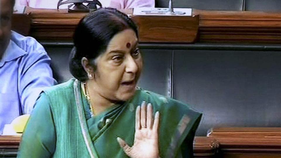 External Affairs Minister Sushma Swaraj speaks in the Lok Sabha in New Delhi.