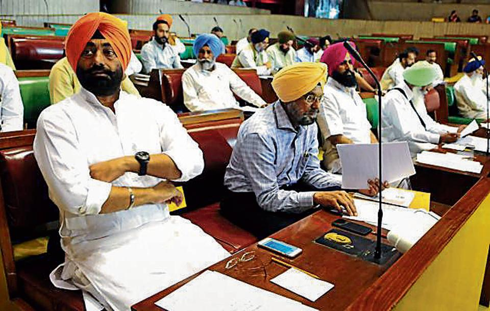 AAP chief whip Sukhpal Singh Khaira along with other party MLAs in the Vidhan Sabha on Tuesday.