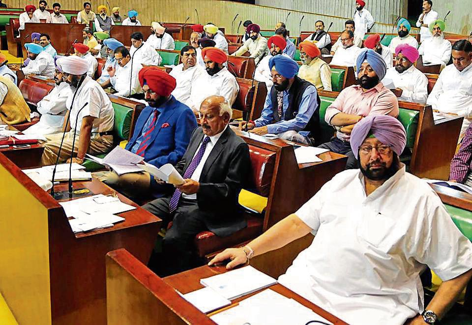 Chief minister Amarinder Singh attending the assembly session in Chandigarh on Tuesday.