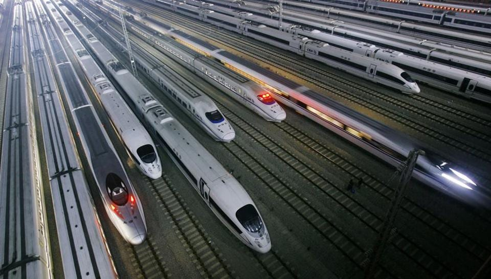 China's CRH high-speed trains at a maintenance base in Wuhan. Chinese daily Global Times said India should not have protectionist tendencies as it will hinder economic growth in the country when it wants to bring in high-speed trains.