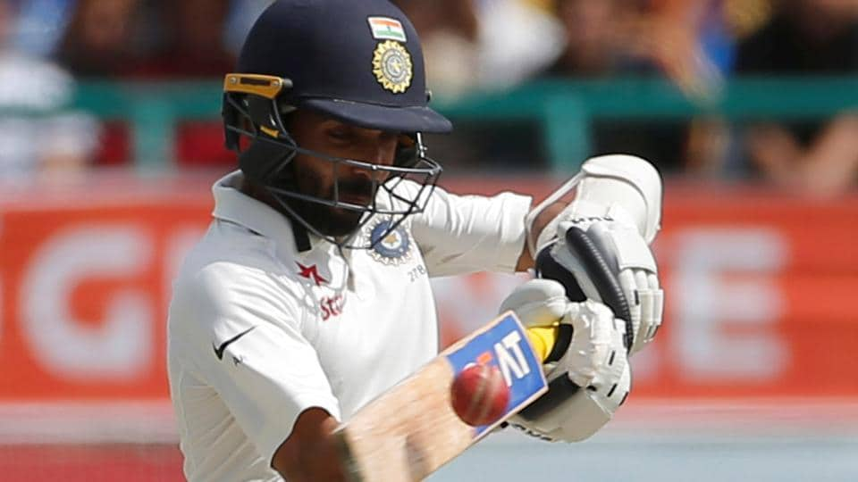 Ajinkya Rahane plays a pull shot on Day 4 of the fourth Test in Dharamsala on Tuesday. Rahane scored a brisk 38 as India won the Test by 8 wickets to clinch the series 2-1