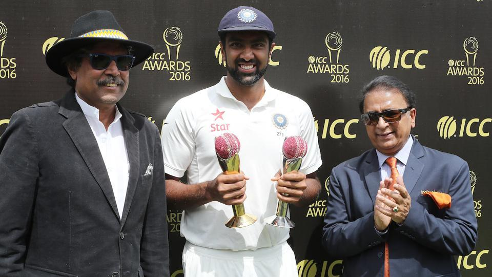 Kapil Dev, Sunil Gavaskar and Ravichandran Ashwin of India with the Garfield Sobers Trophy and the ICC Test Player of the year trophy. (BCCI)