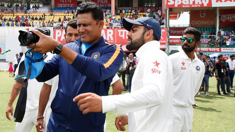 Team India coach Anil Kumble and skipper Virat Kohli tries to find the perfect frame. (BCCI)