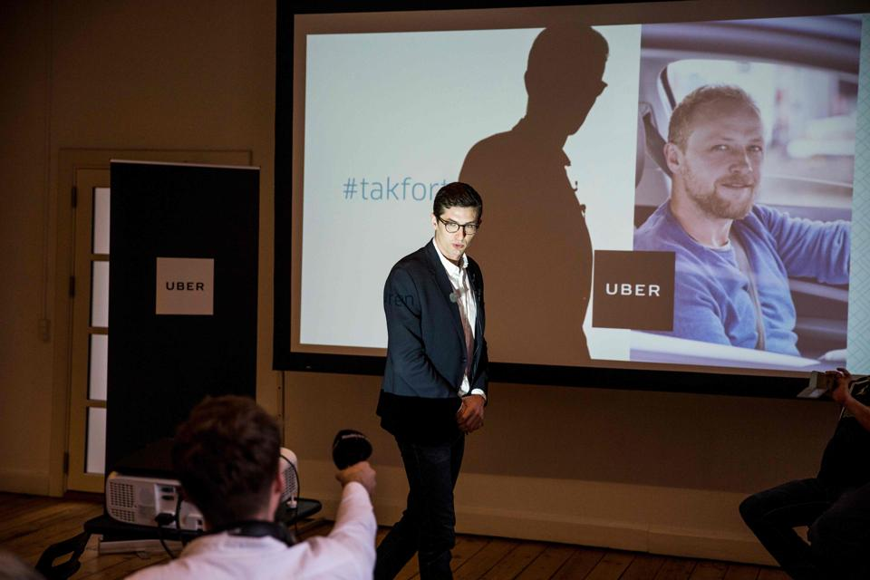 Kristian Agerbo, spokesman of Uber Denmark, gives a press conference on March 28, 2017 in Copenhagen, Denmark.