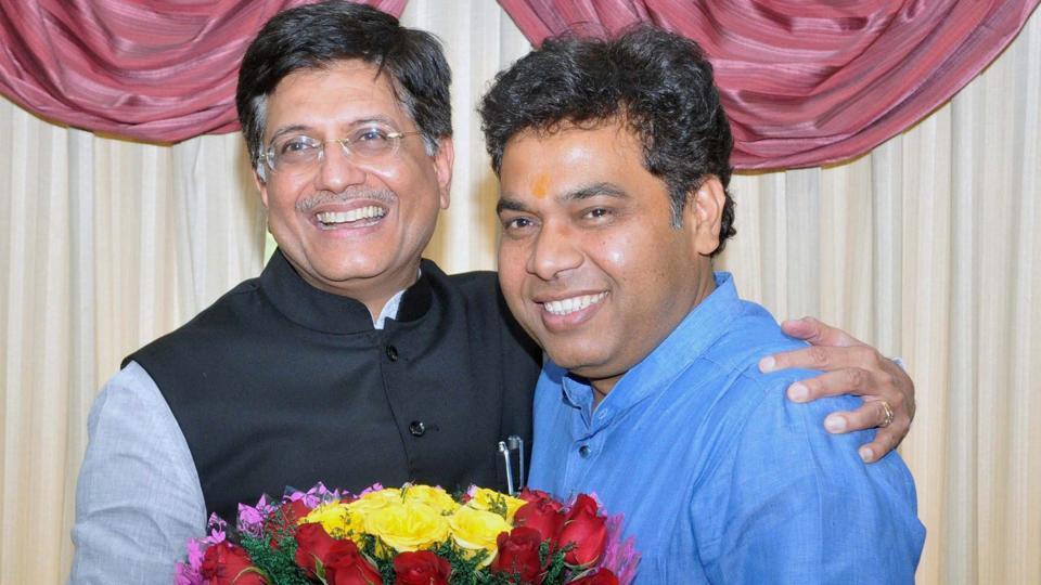 Power minister of Uttar Pradesh, Shrikant Sharma meets Union power minister Piyush Goyal, in New Delhi on March 27.