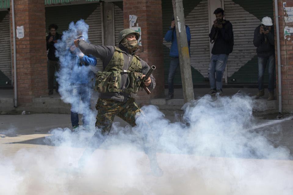 Pellets,Tear gas,Stone-pelting protestors