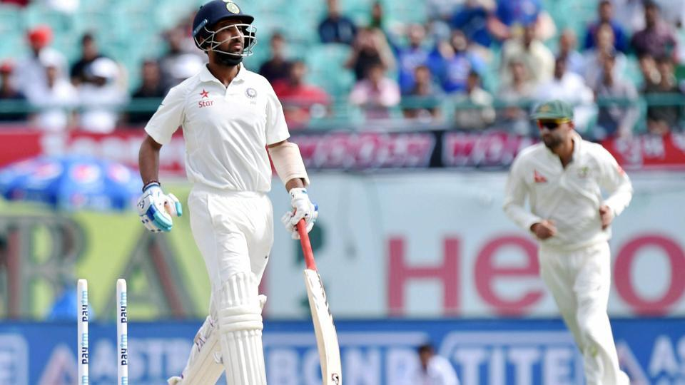 Cheteshwar Pujara reacts after being run out  against Australia in Dharamsala. (PTI)