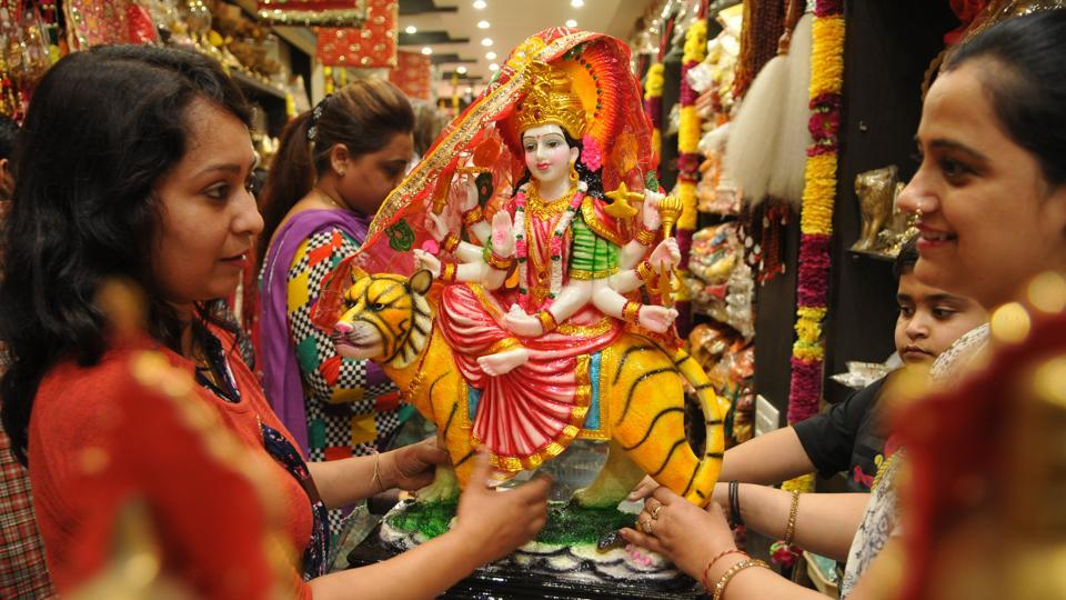 Chaitra Navaratri, nine-day Hindu festival is celebrated in honour of Goddess Durga.  (Pardeep Pandit/HT Photo)