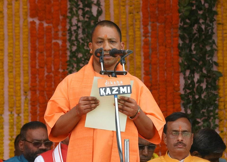 BJP's Yogi Adityanath takes oath as the new chief minister of Uttar Pradesh in Lucknow. Adityanath's administration has launched a  crackdown on illegal slaughterhouses even as the move hit meat sellers across the state.