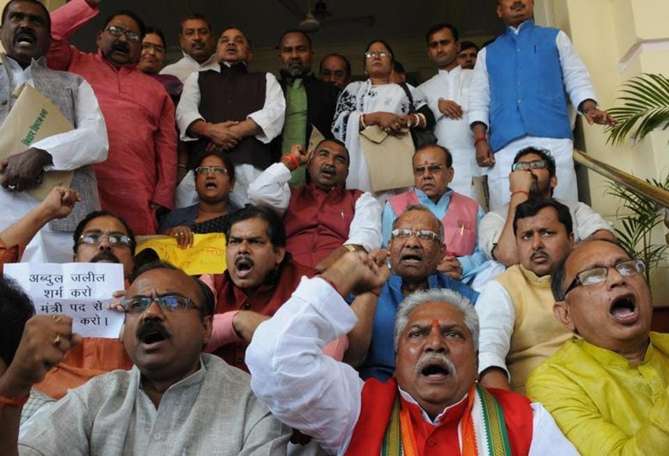 Opposition leaders demanding resignation of excise and prohibition minister Abdul Jalil Mastan, demonstrating outside Bihar assembly, in Patna recently.