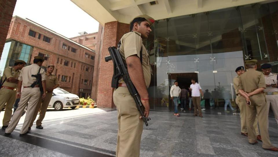 The police stepped up security at Sharda University on Tuesday.