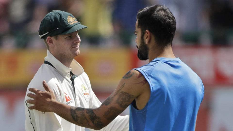 Australia skipper Steven Smith (left) and Virat Kohli did shake hands after the match but the India skipper said in Dharamsala that he would no longer consider the Aussies his 'friends'.