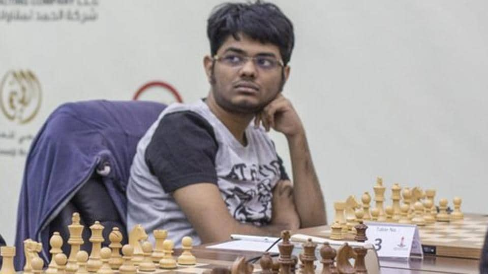 Srinath Narayanan in action at the Sharjah Masters chess championship
