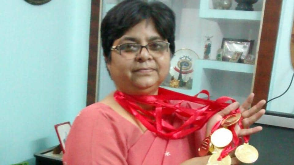 Dr Vinita Vijai née Srivastav, now an associate professor and head of the mathematics department of Lucknow's 130-year-old Isabella Thoburn College, proudly displays the medals she won for mathematics.