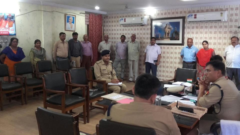 IG A Satish Ganesh at the district police office on Tuesday. While penalising errant staff, he ordered that those who had arrived at work on time be rewarded for their punctuality.