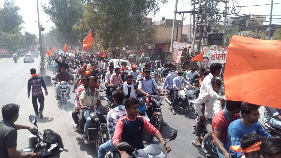 Members of Hindu Yuva Vahini took out a procession between Ghaziabad and Murad Nagar to celebrate Yogi Adityanath being named chief minister of UP on March 24.