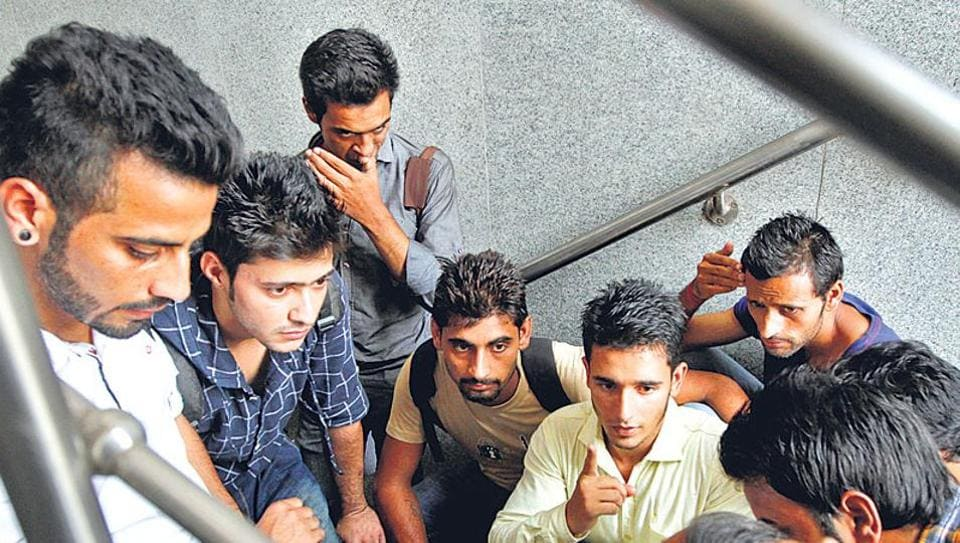 File picture of scholarship holders from J and K at the AICTE office enquiring about the status of their grants.