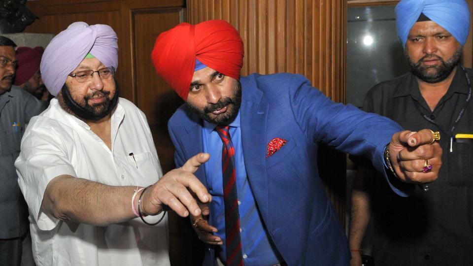 Navjot Singh Sidhu with CM Capt Amarinder Singh at Punjab Vidhan Sabha in Chandigarh.