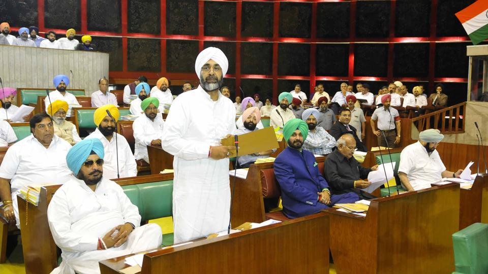 Punjab finance minister Manpreet Singh Badal presenting details of supplementary grants in the Vidhan Sabha in Chandigarh on Wednesday, March 29.